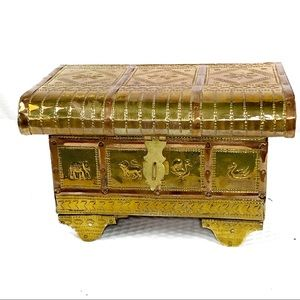 NEW-Rich Repousse Brass Velvet Layered Jewelry Box